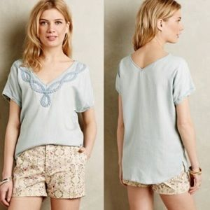 Anthropologie S Chambray Braided Holding Horse